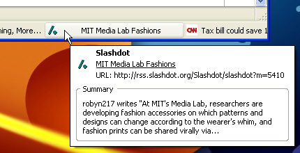 Screenshot of RSS Ticker Firefox extension