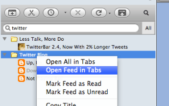 Feed Sidebar's context menu
