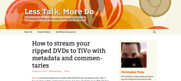 My blog with Twenty Thirteen enabled and a customized version of the default header.
