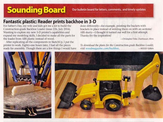 Fantastic Plastic: Reader Prints Backhoe in 3-D
