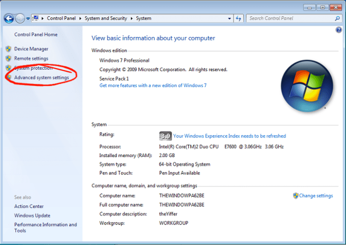 How to find Advanced system settings in Windows 7