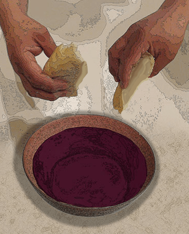 Judas and Jesus Dipping in Bowl