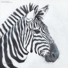 oil painting of a zebra blending realism and flat graphic shapes by christine mitzuk