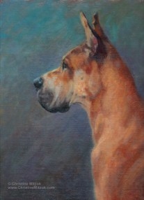 oil painting of a faun colored great dane in profile by christine mitzuk
