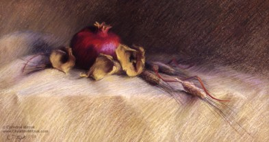 pastel drawing of a pomegranate, dried calla lilies, and wheat by christine mitzuk