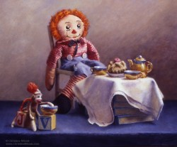 tea party still life of a small sock monkey, raggedy andy and other childhood playthings by christine mitzuk