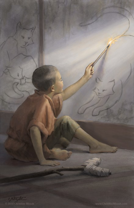 digital painting of the boy who drew cats based on a Japanese tale published in Eggplant Publishing Spellboung and Spindles painted by christine mitzuk