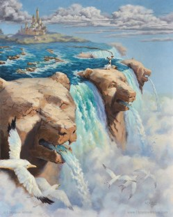 oil painting of bear head waterfalls by christine mitzuk 16 by 20