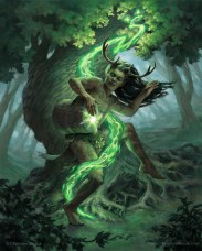 digital painting of earth elemental man with antlers surrounded by green flame playing the drum by christine mitzuk