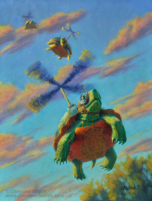 oil painting on primed linen of turtles flying with propellars coming out of the top of their shells and wearing aviator caps by christine mitzuk