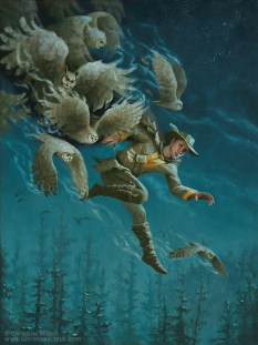 oil painting of man flying down through the sky with owls over a pine forest at night by christine mitzuk