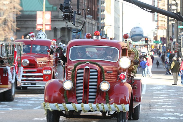 Old firetrucks at the 2013 Ameren Missouri Thanksgiving Day Parade.
