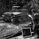 Soldier-Artist sketching at Fort Belvoir (1942)