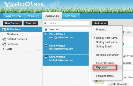 Export Yahoo Contacts