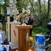Close up of the trophies, and a beer for good measure.