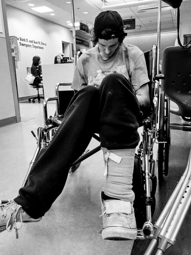 Shaggy sleeps in a wheelchair while he waits to be seen by a doctor in the emergency room of Northwestern Memorial Hospital.