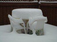 Deep snow on the patio table