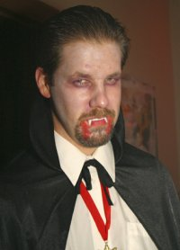 Jon dressed as a vampire