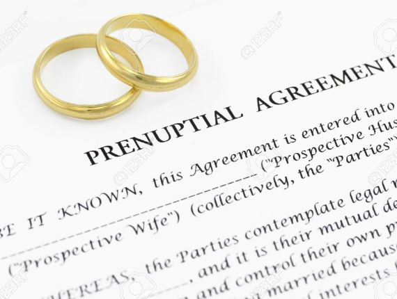 12172964-Form-of-prenuptial-agreement-with-a-pair-of-wedding-rings-Stock-Photo