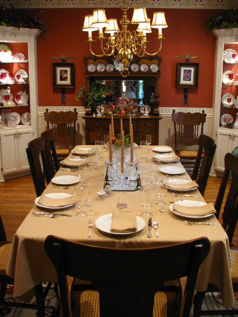 Grandma's Dining Table Setting Classic Style In Red