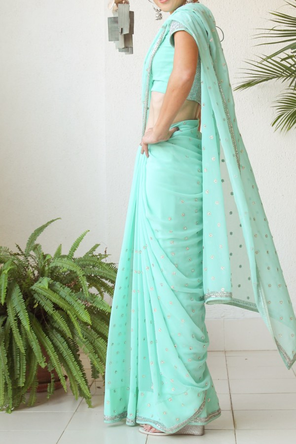 Mint Green Saree e-13