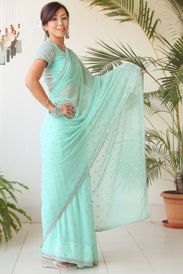Mint Green Saree e-20