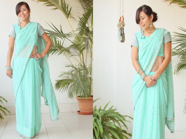 Mint Green Saree e1