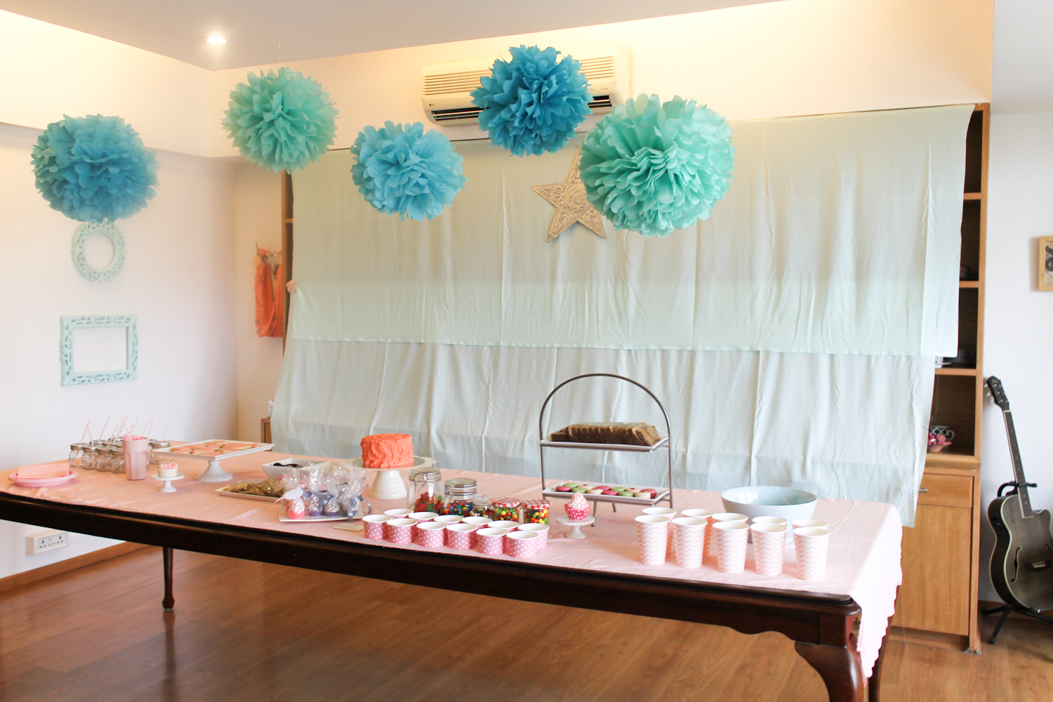 Coral Pink Mint Green Party Decoration-20