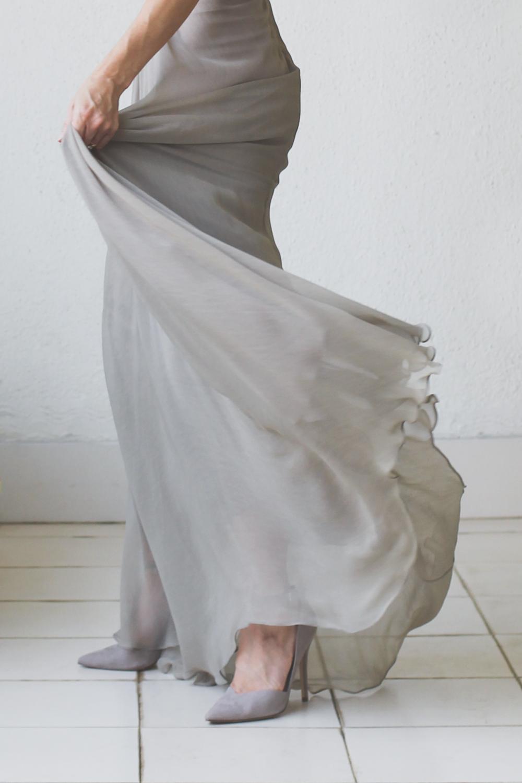 Micky Tan Grey Sequin Chiffon Dress-13