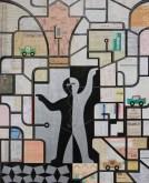 LE GENIE de la Koutoubia DAN$E LE SUK (HERE) (1996) acrilico smalto collage su tela (100x81)