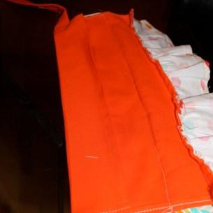 Folded seam over back