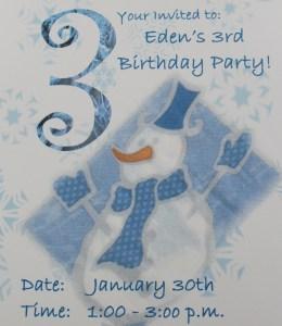snowman birthday invitation