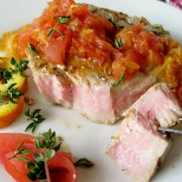 Grilled Tuna Steaks with Orange Tomato Sauce #SundaySupper