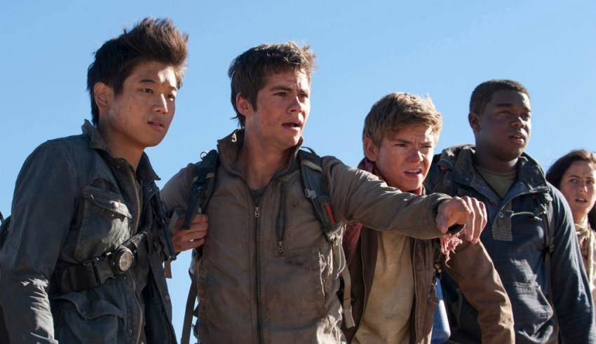 (L-r) Ki Hong Lee, Dylan O'Brien, Thomas Brodie-Sangster, Dexter Darden and Kaya Scodelario star in 20th Century Fox's MAZE RUNNER: THE SCORCH TRIALS