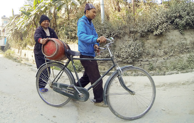 Cooking gas on bicycle