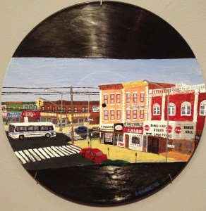 "Oscar Azmitia, ""Treats Among Vices,"" enamel paint on vinyl record, 12"" dia., 2015"