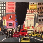 "Susan Brown, ""Times Square,"" mixed media on canvas, 2015"