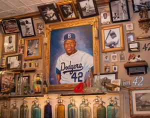 A portion of The City Reliquary Museum's Jackie Robinson collection on display