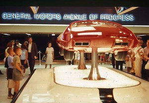 "One of General Motor's "" Concept Cars"" inside the General Motors Pavilion, 1964."