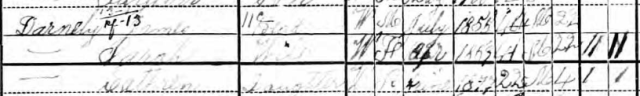 1900 U.S. Census. James, Sarah, and daughter Cathren Darnley. Courtesy of Ancestry.com