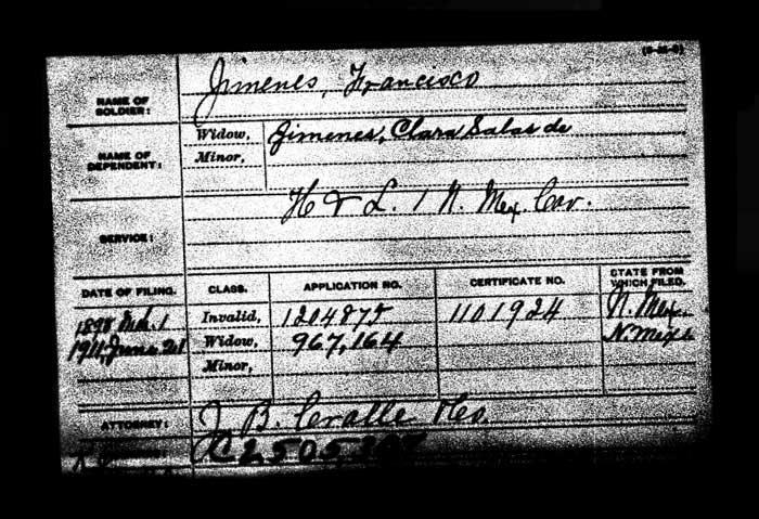 Francisco Jimenez, Civil War Pension Index Card