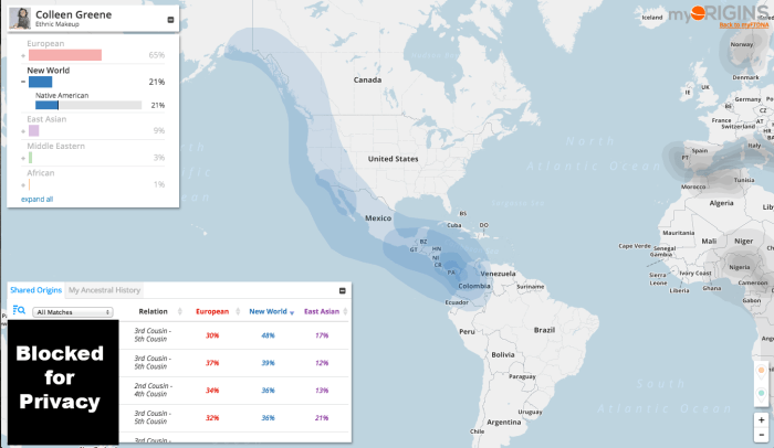 Dad Family Tree DNA Ethnic Makeup, New World
