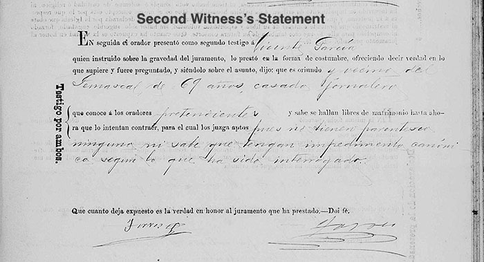 Refugio Nieto and Aurelia Compean Marriage - Second Witness