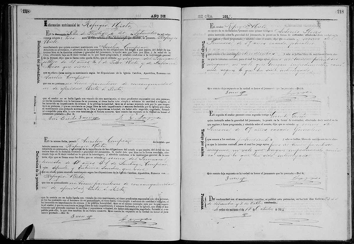#52Ancestors: An English Translation for the Mexico Marriage Record of 2nd Great-Grandfather Refugio Nieto