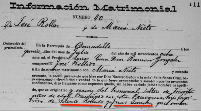 Parents Identified in Jose Robledo's 1908 Marriage Record