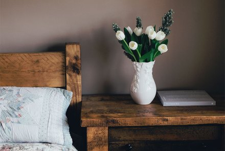 flowers on bedside table
