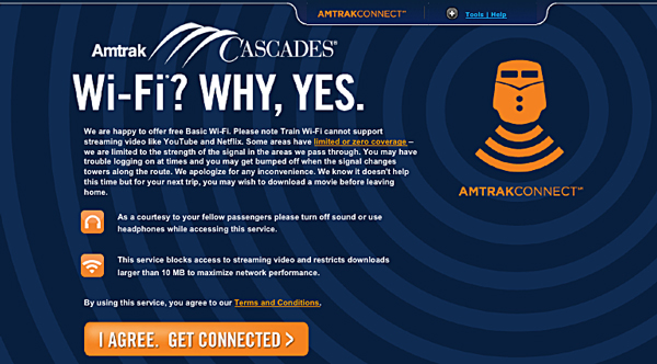 Amtrak Cascades Rail from Vancouver to Seattle - Free Wireless