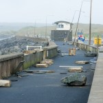 Debris is strewn across Lahinch promenade. Photograph by John Kelly.