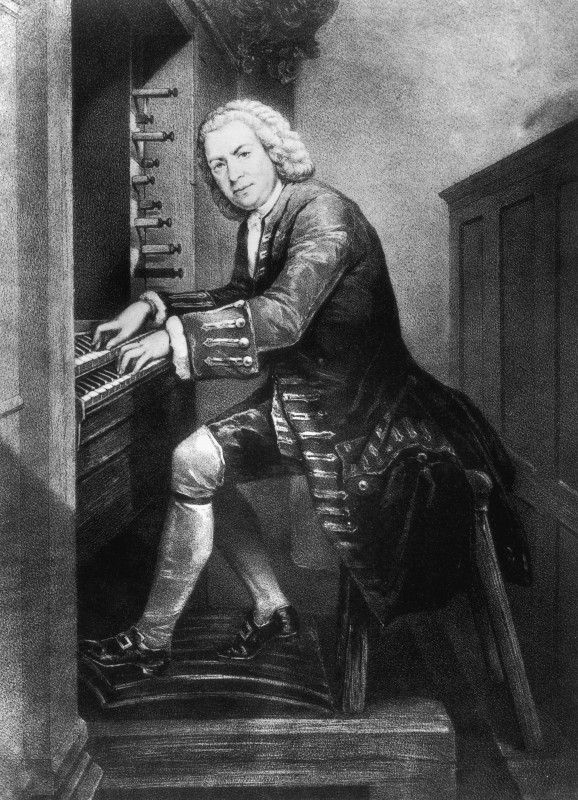 Johann Sebastian Bach (1685 - 1750), German musician and composer playing the organ, circa 1725. From a print in the British Museum.   (Photo by Rischgitz/Getty Images)