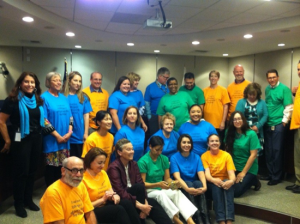 Members of the CFCC, CDE Staff, Framework Writers, and State Board of Education members on the last day of the CFCC meetings on May 22, 2015. The group members are wearing t-shirts that were made by one of the members to commemorate their experience.  Photo by Laura Henriques.